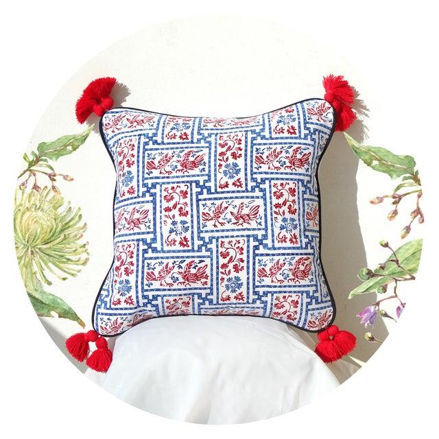 "Indigo & Red Chinoiserie Pillowcase ""Love Birds"" - Image 3 of 8"