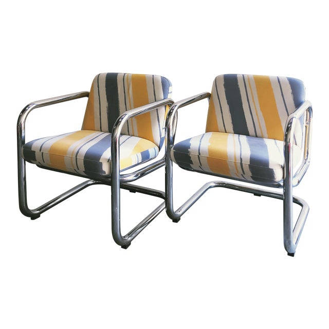 Vintage Kinetics Furniture Chrome Cantilever Armchairs For Sale