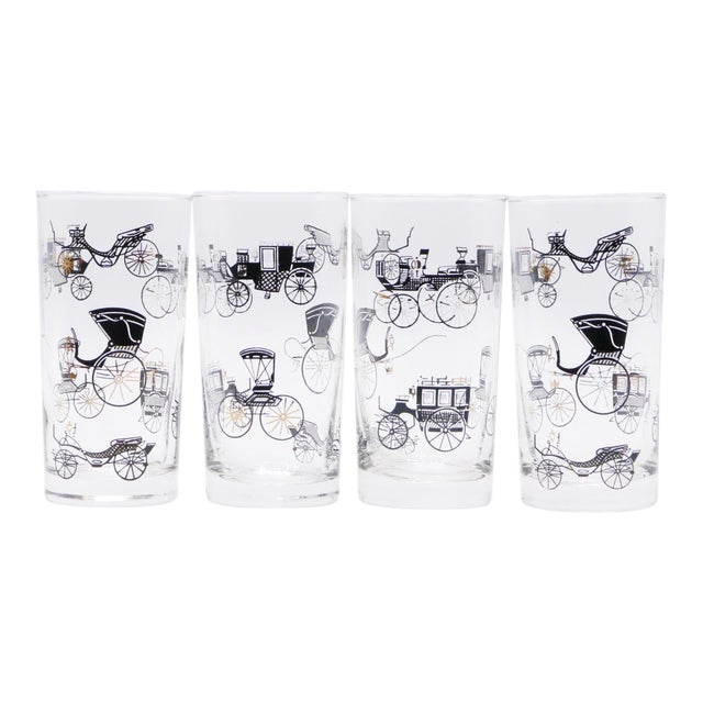 Mid Century Glass Tumblers - Set of 4 For Sale