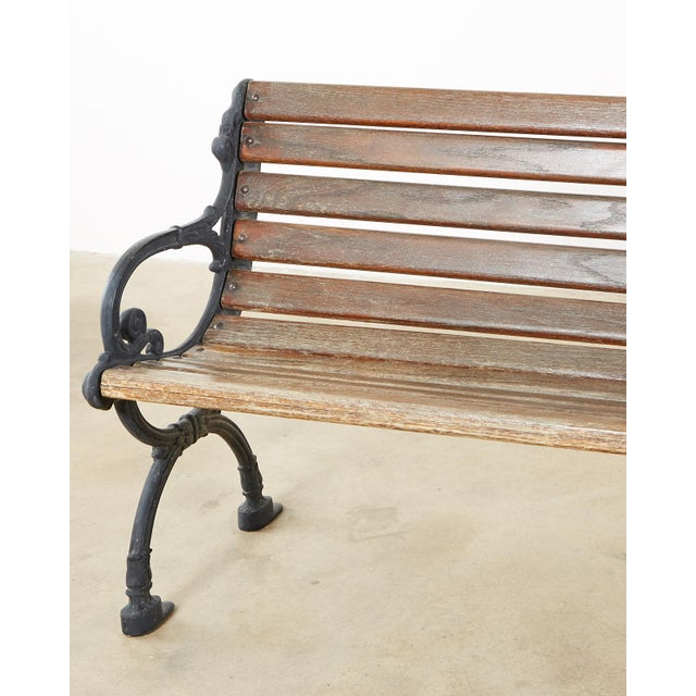 Neoclassical Neoclassical Style Cast Iron and Wood Park Bench For Sale - Image 3 of 13