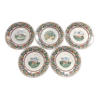 Mid 20th Century Antique Chateau Vineyard-Themed Limoges Cheese and Fruit Plates - Set of 5 For Sale