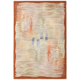 Vintage French Art Deco Rug - 5′5″ × 8′1″ For Sale