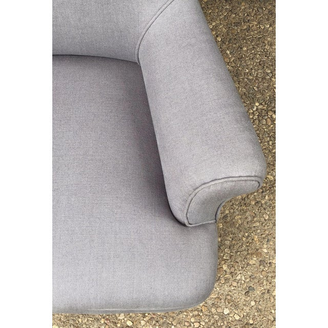 Linen Upholstery French Scroll-Back Armchair For Sale - Image 9 of 13