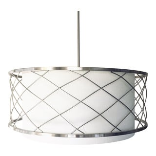 Large Pendant Drum Chandelier in Brushed Nickel With White Linen Shade For Sale