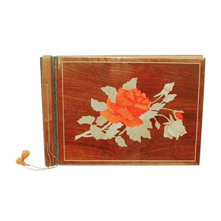 Vintage Wooden Scrapbook With Flower Inlay Preview