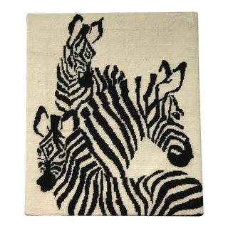 1980s Vintage Zebra Needlepoint Textile Art For Sale