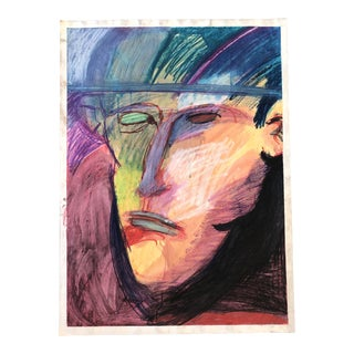 Vintage Large Original Pastel Abstract Portrait Drawing For Sale