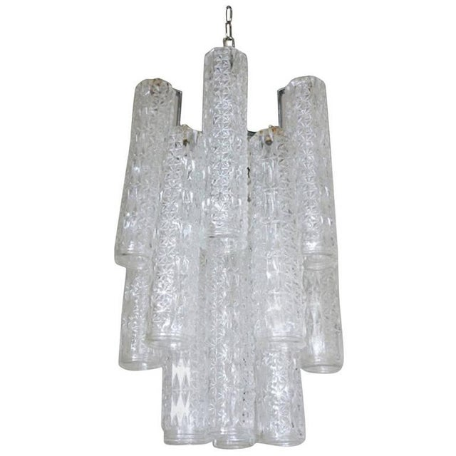 Vintage Italian Tronchi Murano Glass Chandelier by Venini For Sale In Palm Springs - Image 6 of 6