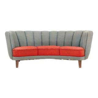 1940s Danish Modern Curved Three Seat Sofa in Red + Grey Wool