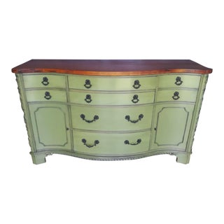 Bow Front Olive Mahogany Buffet For Sale