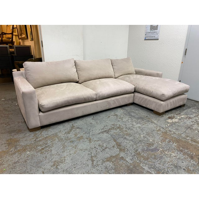 G. Ramono Micro Fiber Down Filled Two Piece Sectional For Sale - Image 4 of 12