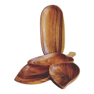 Midcentury Hawaiian Monkey Pod Wood Serving Trays, Set of Two For Sale