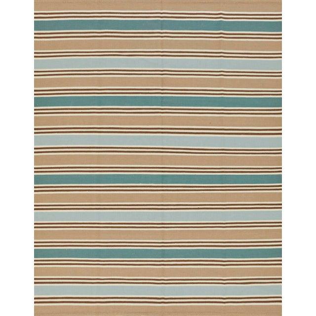 2010s Schumacher Patterson Flynn Martin Bosun Stripe Hand Woven Wool Modern Rug For Sale - Image 5 of 5