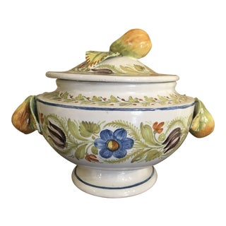 Dutch Hand Painted Pottery Coveted Soup Tureen For Sale