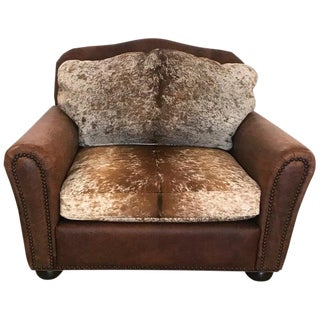 Late 20th Century Leather and Cowhide Club Chair For Sale