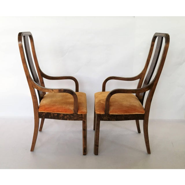 Century Furniture Set of Six Burl Wood and Brass Dining Chairs by Century Furniture For Sale - Image 4 of 7