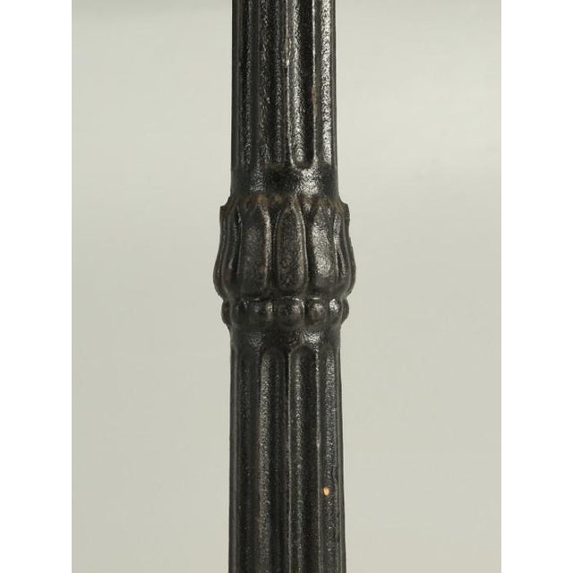 Metal French Bistro Table With Cast Iron Base For Sale - Image 7 of 11
