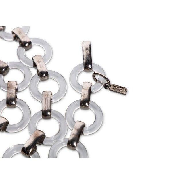 1970s Vintage Yves Saint Laurent Lucite Rings Silver Link Necklace Belt For Sale - Image 5 of 6