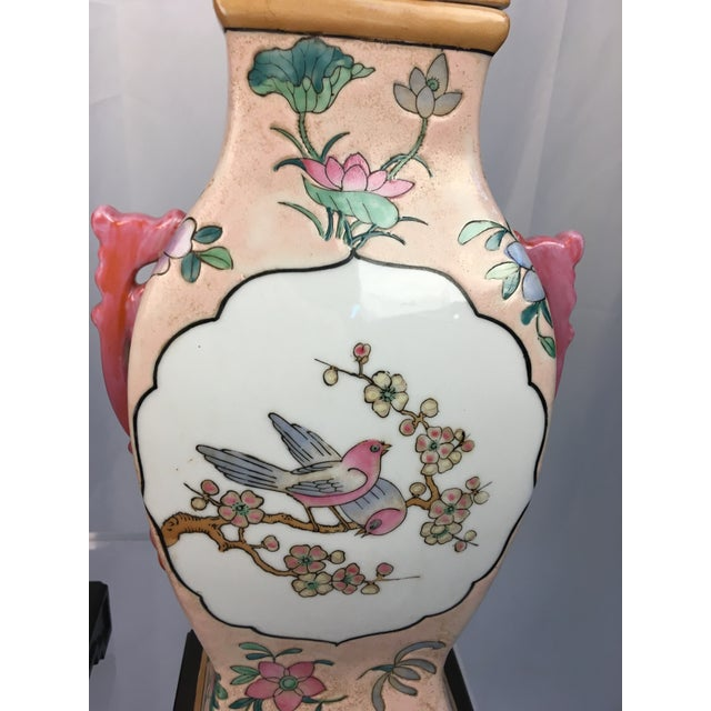 Asian Pink With Floral Motif Chinoiserie Vintage Lamps - a Pair For Sale - Image 3 of 9