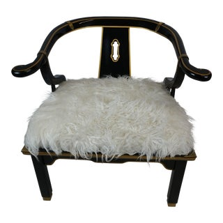 Century Asian Lacquered and Brass Chair the Style of James Mont W/Faux Fur For Sale