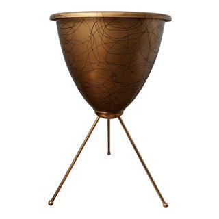 20th Century Contemporary Gold Plastic Planter With Brass Legs