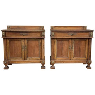 Pair of French Bedside Tables Nightstands With Crest and Bronze Details For Sale