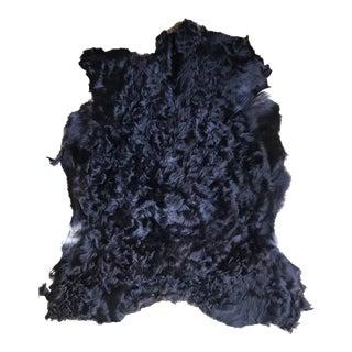 Modern Black Angora Goatskin Throw- 2′8″ × 3′10″ For Sale