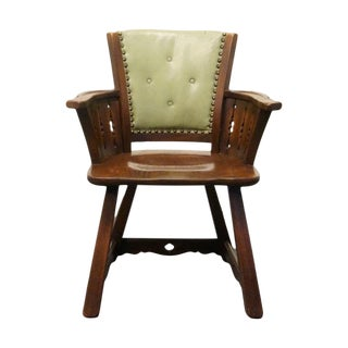 Late 20th Century Vintage Romweber Viking Oak Gate Grind Saddle Arm Chair For Sale