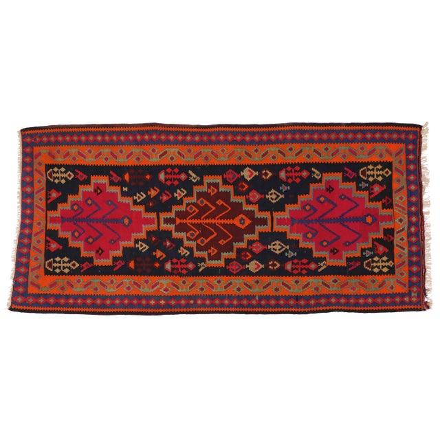 "Boho Chic Vintage Persian Tribal Kilim Rug Runner - 5'3"" X 11'3"" - Image 2 of 6"