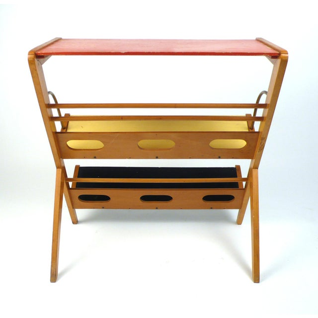 Wood Rare 1950s Magazine Rack or Newspaper Holder For Sale - Image 7 of 9