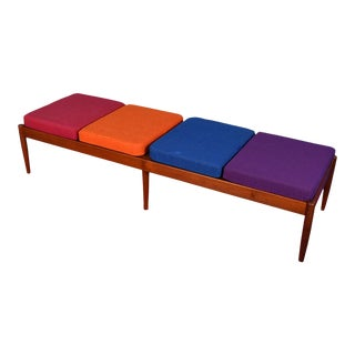 Danish Teak Coffee Table / Bench W/ Removable Cushions For Sale