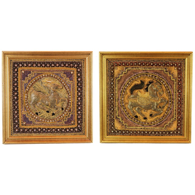 Pasargad DC Hand Made India Beaded Gazelle Raised Wall Art - a Pair For Sale - Image 12 of 12