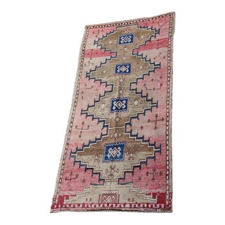 "Vintage Pink Anatolian Rug - 6' X 12'6"" For Sale"