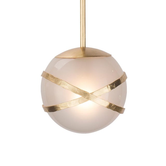 """Inspired by jewelry, the hammered bands on these pendants are reminiscent of bangle bracelets. Globe size = 10"""""""