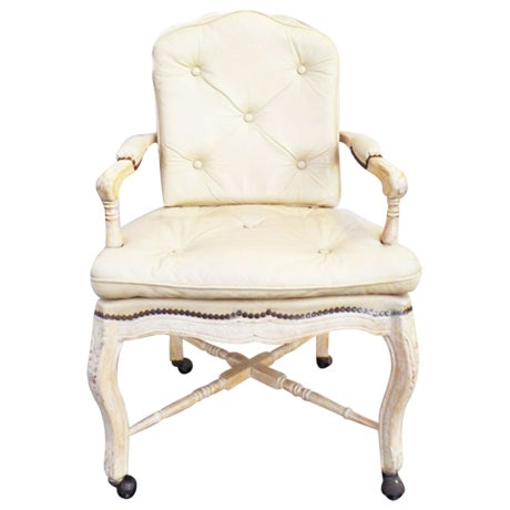 Victorian White Washed Wood Leather Office Chair For Sale