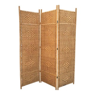 Midcentury Rattan Room Divider or Screen Three-Fold Screen, Split Bamboo For Sale