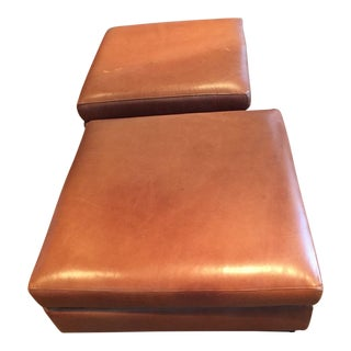 Handmade Leather Ottomans in the Style of Ralph Lauren For Sale