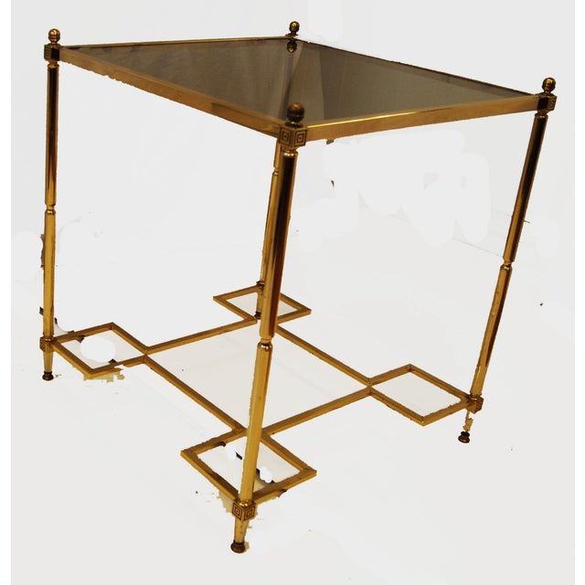 Hollywood Regency Brass Glass Top End Side Table - Image 2 of 6