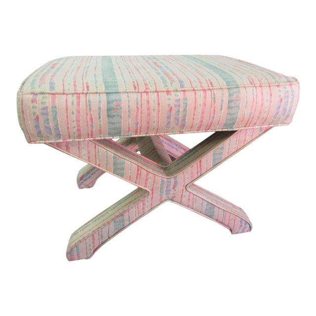 Pastel Upholstered X Bench For Sale
