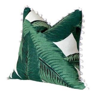 Linen Banana Leaf Pom Pom Pillow Cover - 18x18 For Sale