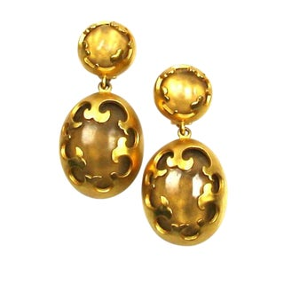 1980s Karl Lagerfeld Gold Tone and Lucite Earrings For Sale