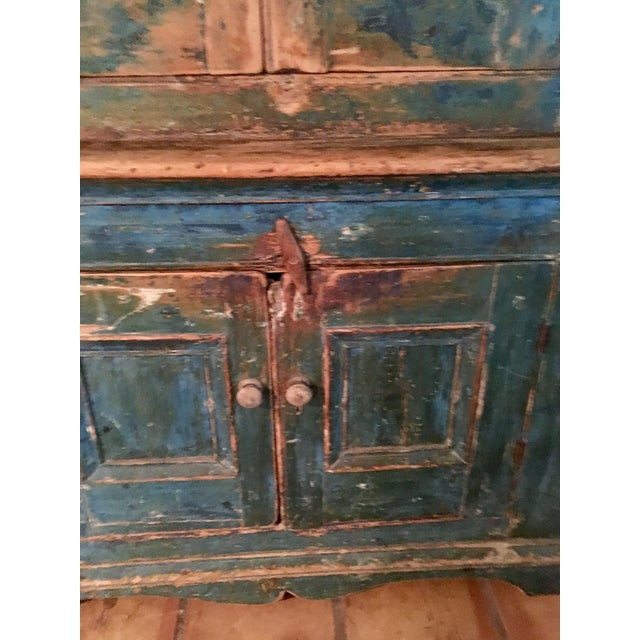 Mid 19th Century Antique Blue Step Back Cupboard For Sale - Image 4 of 9