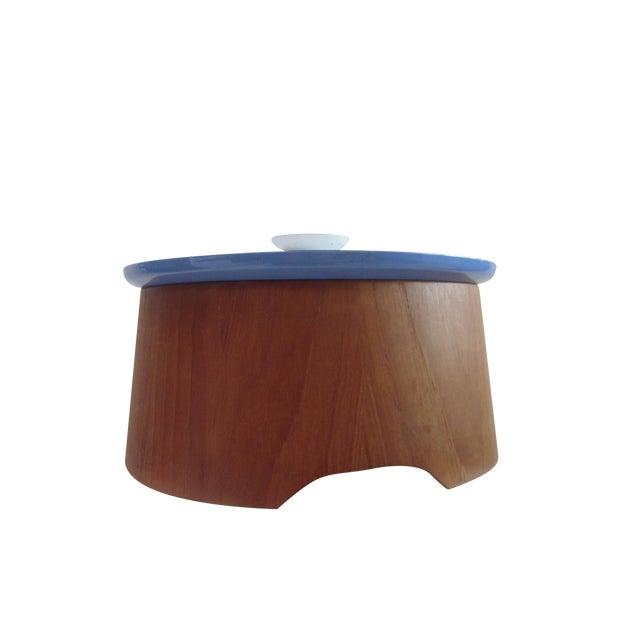 Large Teak Swedish Enamel Pot, Cathrineholm Style For Sale