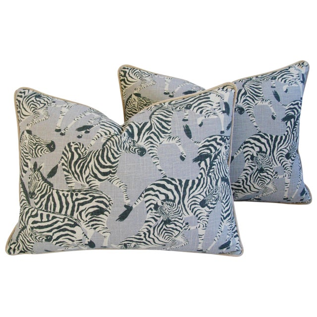 "Custom Safari Zebra Linen/Velvet Feather & Down Pillows 24"" x 18"" - Pair For Sale - Image 11 of 11"