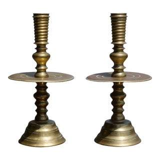 Massive Pair of Early 19th Century Brass Candlesticks For Sale