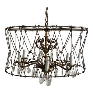 Vintage Custom Solid Brass Crystal Caged Chandelier For Sale