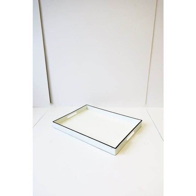 Modern White and Black Lacquer Serving Tray For Sale - Image 3 of 13