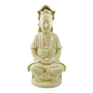 Mid 20th Century Sitting Guanyin Blanc De Chine Figurine Kwan-Yin For Sale