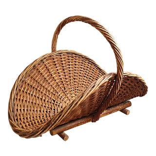 Antique French Wicker Gathering Basket For Sale