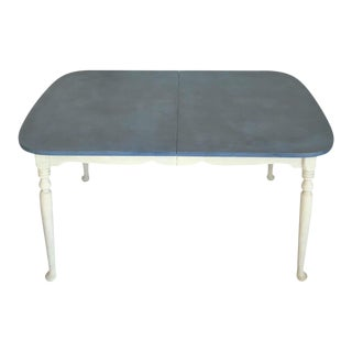 1960's Vintage Duck Egg Blue Maple Farm House Table For Sale